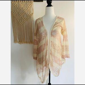 Urban Outfitters Blush/Cream Lace Cardigan Medium